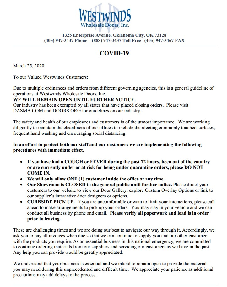 Westwinds COVID-19 Notice